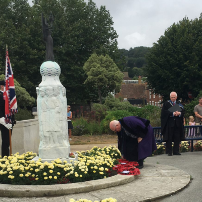 Vj Day 2020 Cllr Wreath Laying 1