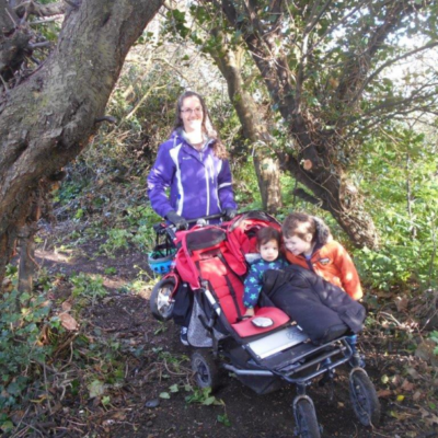 Jen Bailey And Children Inspecting The Woodland Walk Making Sure Its Pushchair Friendly